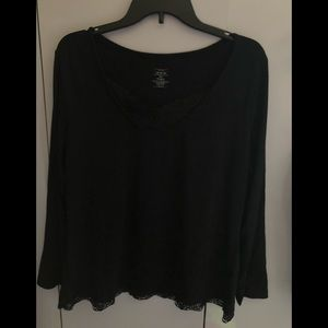 VENEZIA BLACK SHIRT WITH LACE